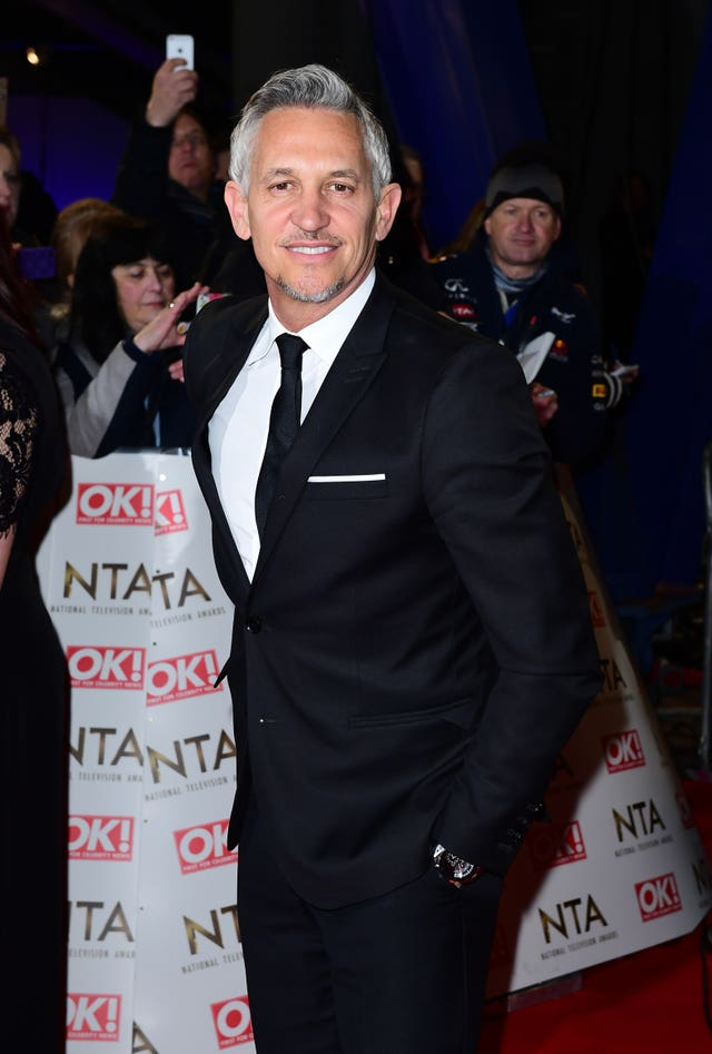 Gary Lineker arriving at the National Television Awards