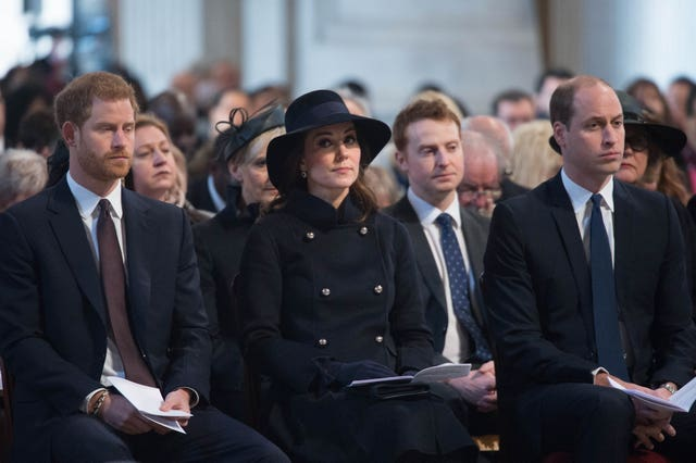 The Duke and Duchess of Cambridge and Prince Harry attended the Grenfell Tower National Memorial Service at St Paul's Cathedral (Stefan Rousseau/PA)