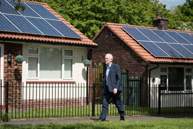 Labour leader Jeremy Corbyn during a visit to Salford