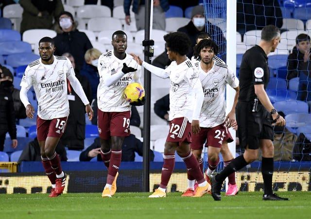 Arsenal's Nicolas Pepe (second left) celebrates scoring a goal with his team-mates