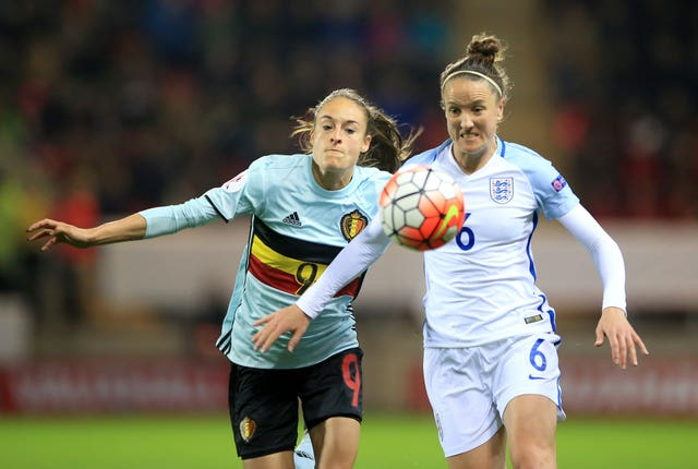 Casey Stoney, right, made 130 appearances for England