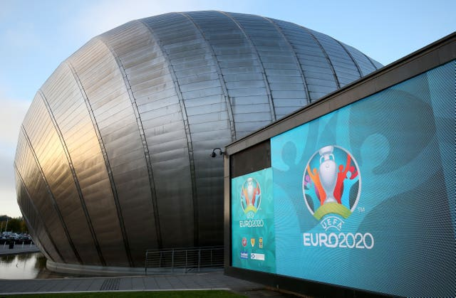 UEFA Euro 2020 logo at the Glasgow Science Centre