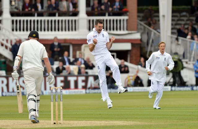 Anderson, centre, snared Peter Fulton for his 300th Test wicket (Anthony Devlin/PA)