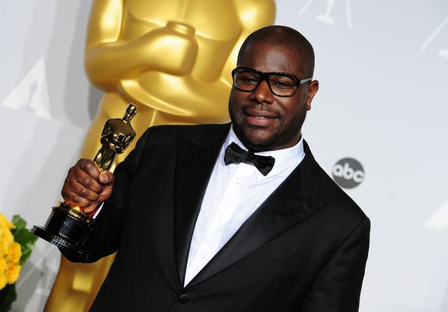 Steve McQueen with his Oscar for best film for 12 Years A Slave