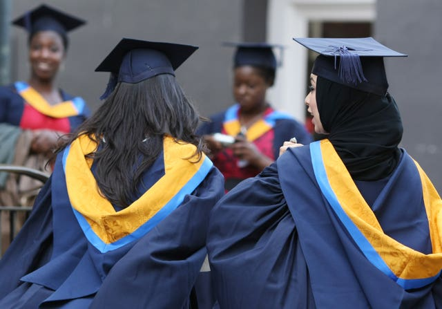 Students wearing Mortar Boards and Gowns after graduating
