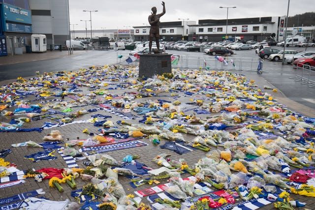 Floral tributes to Emiliano Sala were left outside the Cardiff City Stadium