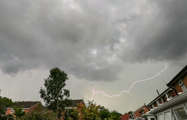 Lightning strikes above Liverpool