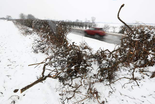 The scene of the crash on the A61 near Thirsk (Owen Humphreys/PA)