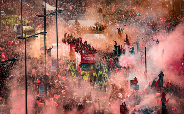Thousands of fans lined the smoky streets of Liverpool to welcome home the five-time European champions in June. A day after beating Tottenham in Madrid, Jurgen Klopp's team paraded the Champions League trophy from an open-top bus, with some supporters climbing traffic lights to catch a glimpse of their heroes