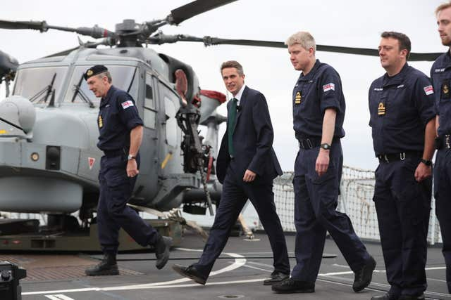 Defence Secretary Gavin Williamson on the deck of HMS Montrose at HMNB Devonport, Plymouth.