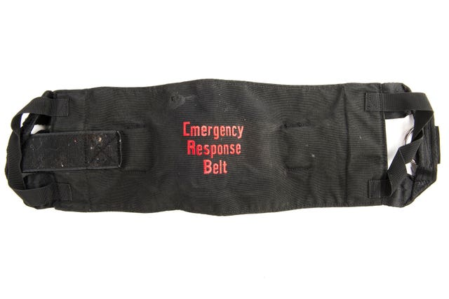 An Emergency Response Belt used to restrain Thomas Orchard