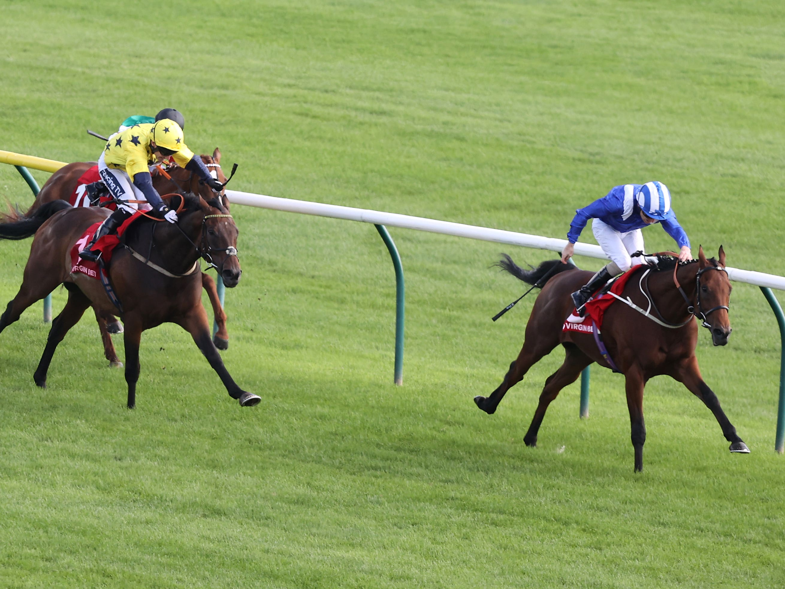Maydanny (right) clear in the Doonside Cup at Ayr (Jeff Holmes/PA)