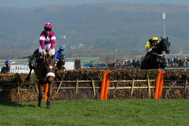Davy Russell and Tiger Roll on their way to glory in the 2014 Triumph Hurdle