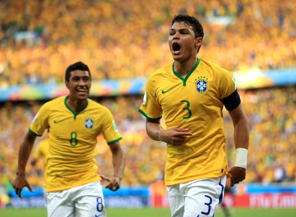 Thiago Silva, right, scored in Brazil's 2014 World Cup quarter-final win over Colombia but later picked up a needless booking which meant he was banned for the 7-1 semi-final thrashing by Germany
