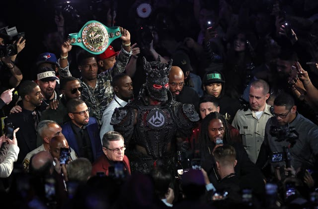 Deontay Wilder on his way to the ring in Las Vegas