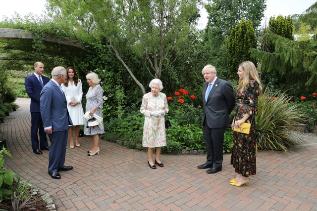 The Queen, The Prince of Wales and The Duchess of Cornwall, The Duke and Duchess of Cambridge attend a reception at the Eden Project with Prime Minister Boris Johnson and his wife Carrie and G7 leaders at the G7 summit in Cornwall