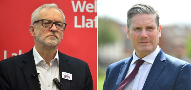 Former Labour leader Jeremy Corbyn and current leader Sir Keir Starmer