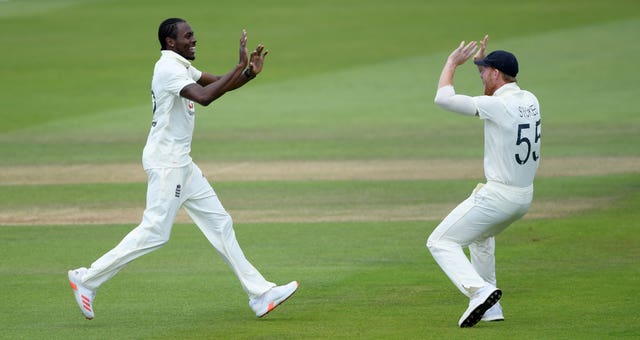 Jofra Archer, left, paid tribute to Ben Stokes (Mike Hewitt/NMC Pool/PA)