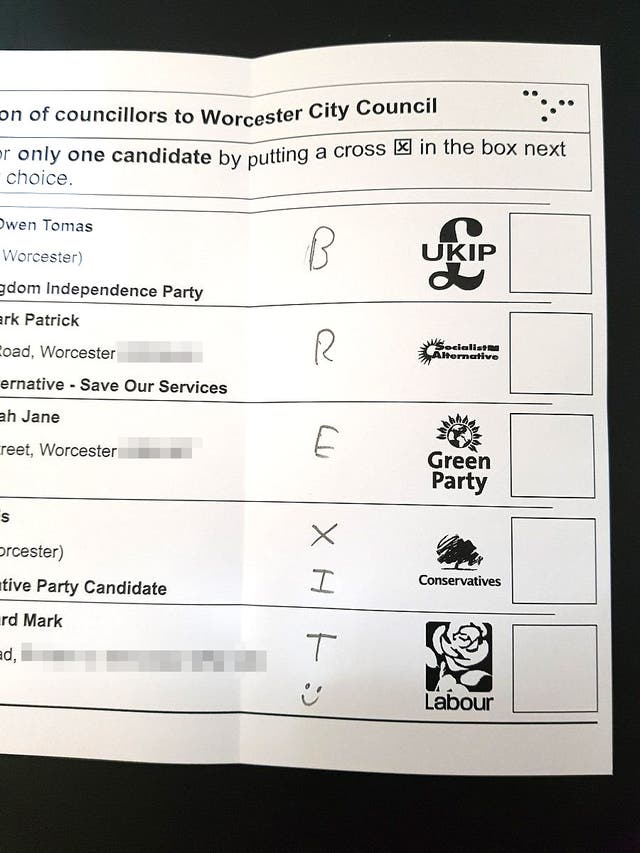 Voters Spoil Local Election Ballot Papers In Brexit Protest The