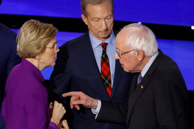 Democratic presidential candidates Bernie Sanders and Elizabeth Warren