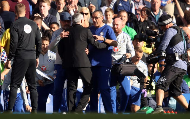 Jose Mourinho, centre left, received an apology from Chelsea manager Maurizio Sarri (Adam Davy/PA)