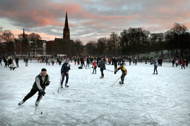 The pond became a magnet for skaters during the recent cold snap