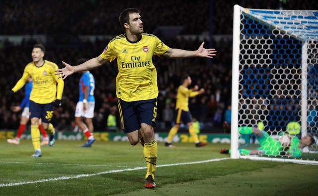Arsenal's Sokratis celebrates scoring during the FA Cup fifth round