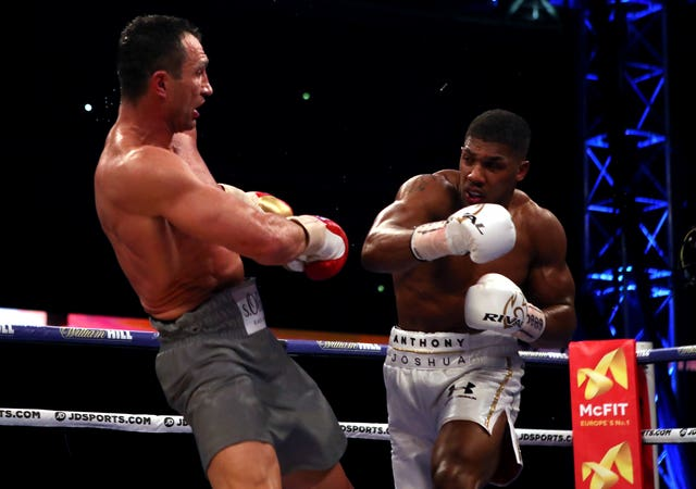 Anthony Joshua, right, and Fury have both fought and beat Wladimir Klitschko, left (Nick Potts/PA)