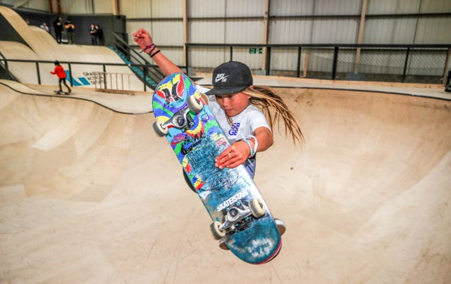 Sky Brown, 10, from Miyazaki in Japan during the Skateboard GB Team Announcement at the Graystone Action Academy, Manchester