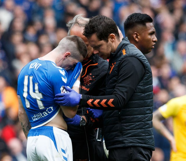 Ryan Kent leaves the field injured