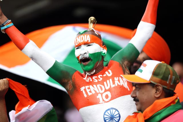 An India fan salutes Sachin Tendulkar, who was at Edgbaston for the game against England