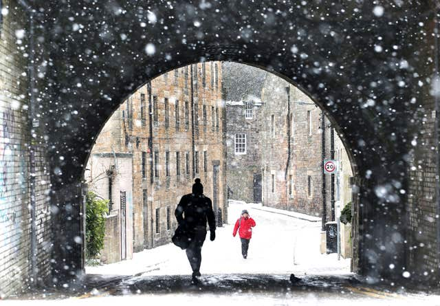 Snow falling in Edinburgh, on February 28 last year