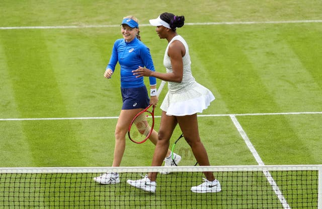 Seven-time grand slam winner Venus Williams, right, teamed up with  and Harriet Dart, left, in Birmingham