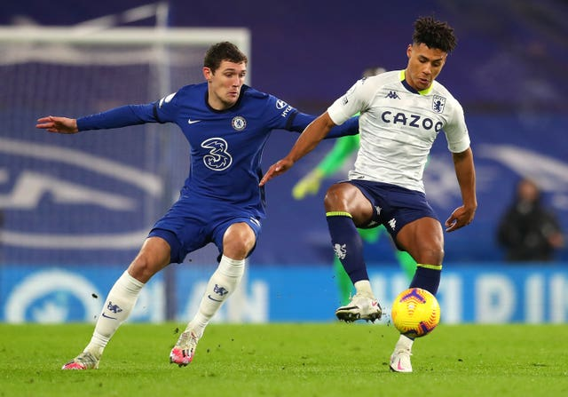 Andreas Christensen in action against Aston Villa in December