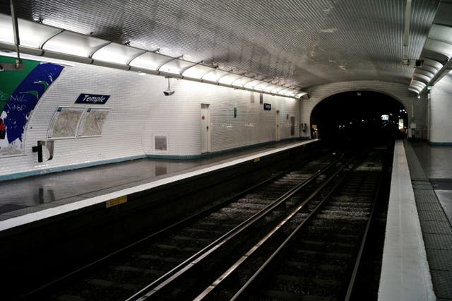 View of the empty metro station Temple in Paris (Thibault Camus/AP)