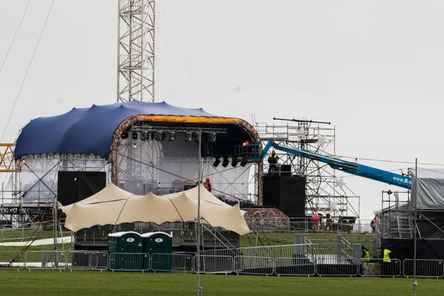 Construction workers dismantling the stage at Galway's South Park
