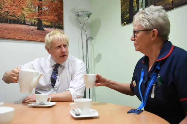 The PM met staff and nurses during a visit to King's Mill Hospital in Sutton-in-Ashfield