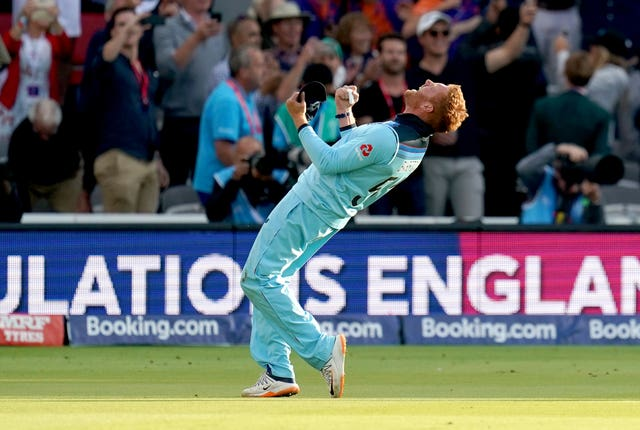 Jonny Bairstow celebrates the victory on the pitch