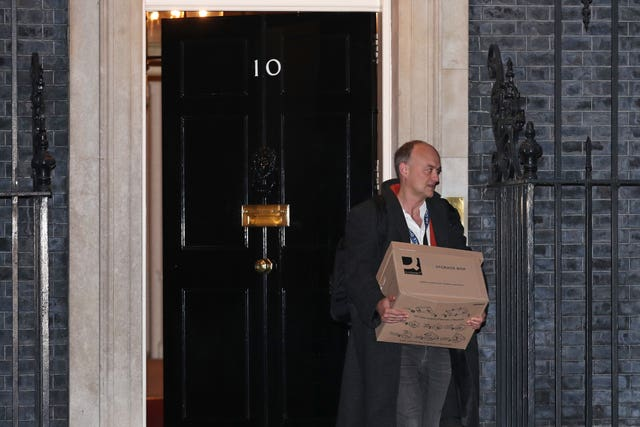Prime Minister Boris Johnson's top aide Dominic Cummings leaves 10 Downing Street, London, with a box (Yui Mok/PA)