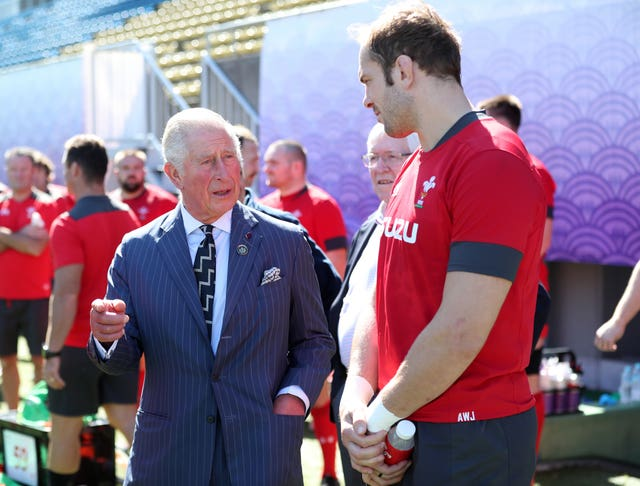 Alun Wyn Jones met the Prince of Wales at training on Tuesday