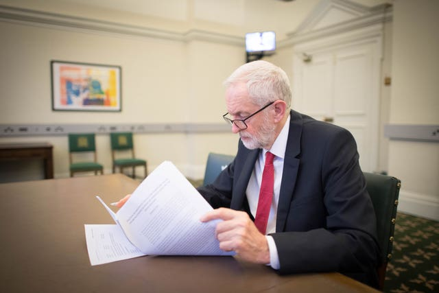 Labour leader Jeremy Corbyn with the Political Declaration