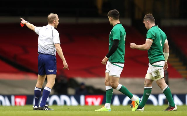 Peter O'Mahony, right, was sent off in Ireland's Guinness Six Nations defeat to Wales