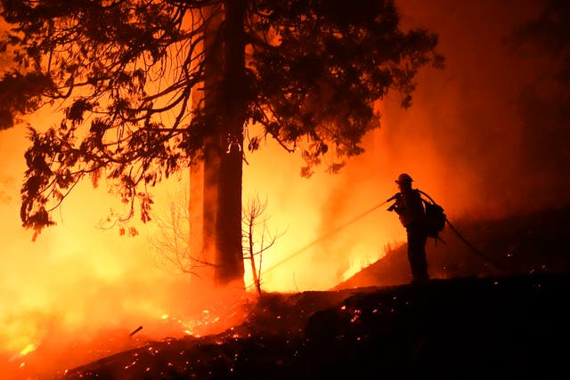 A firefighter tackles the Creek Fire in Big Creek, California