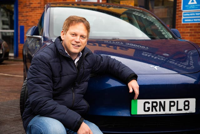 Transport Secretary Grant Shapps has collected a green plate (David Parry/PA)