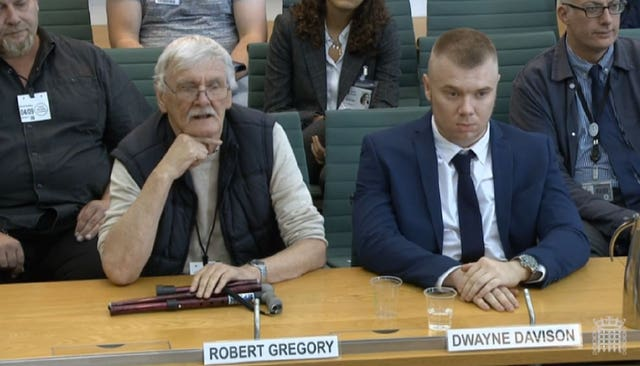 Former Jeremy Kyle Show participants Robert Gregory and Dwayne Davison giving evidence to the committee