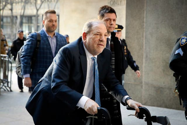 Harvey Weinstein arriving at a courthouse in Manhattan in February last year
