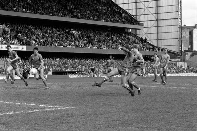 Kenny Dalglish volleys home a shot against Chelsea
