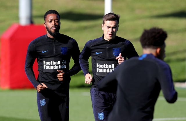 Chalobah (left) and Harry Winks (right) in training with England