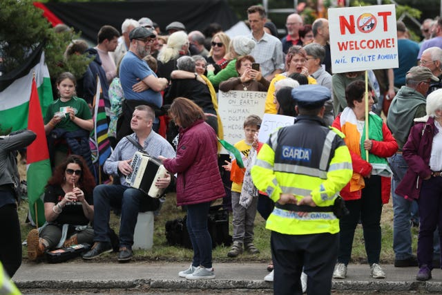 Protesters at the peace camp on the road to Shannon Airport