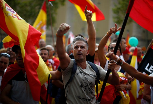 An anti-independence protest in Barcelona, held on Sunday